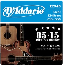 D'Addario 85-15 12-String Acoustic Guitar Strings EZ940